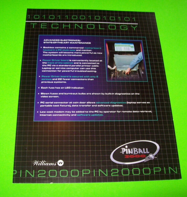 PINBALL 2000 By BALLY WILLIAMS ORIGINAL NOS PINBALL MACHINE PROMO SALES FLYER #2