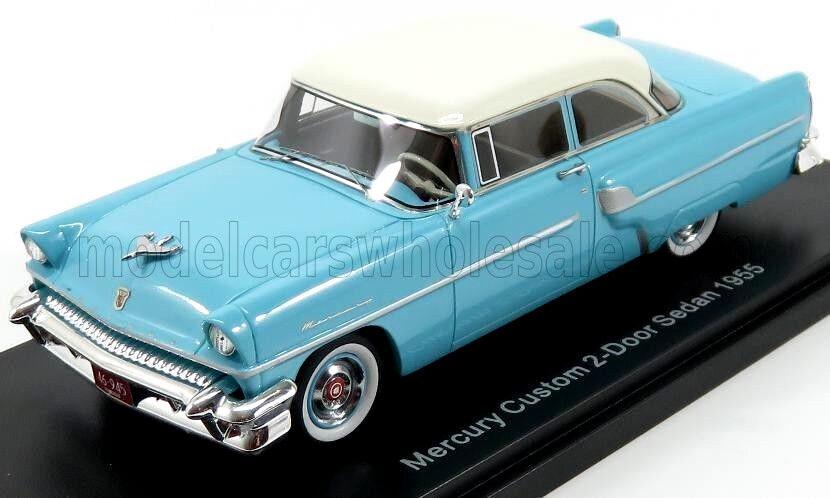 Wonderful NEO-modelcar FORD MERCURY CUSTOM SEDAN 1955 - lightblu/bianca - 1/43