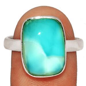 Genuine Larimar - Dominican Republic 925 Silver Ring Jewelry s.10 BR13874 XGB