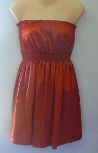 BRAND-NEW-LADIES-BURNT-ORANGE-SUPRE-STRAPLESS-SATIN-DRESS-SIZE-S-8-10