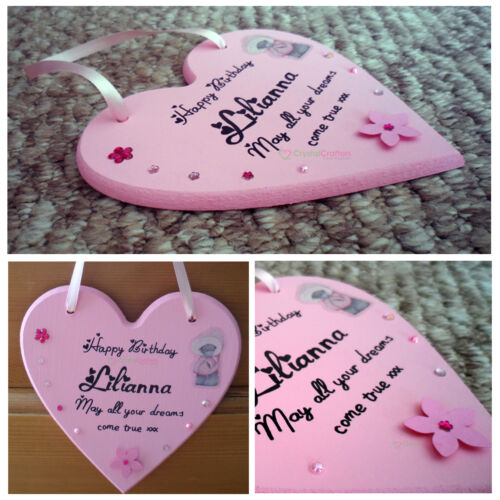 Personalised Wooden Hanging Heart Plaque 15cm Gift Sign Christening Boy Girl