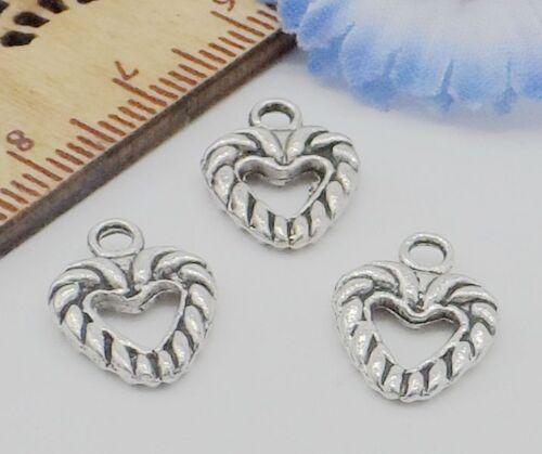 Free Ship 50//300PCS Tibetan Silver Heart Charms Pendentif Pour Bracelet À faire soi-même 14x10mm