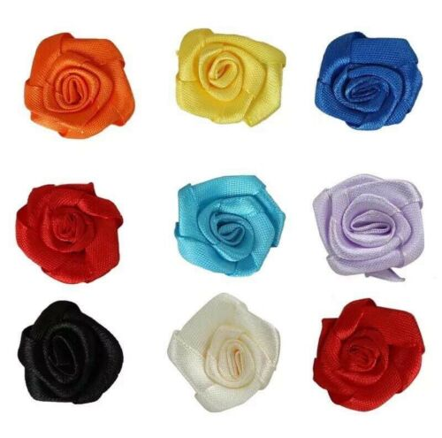 25x Small Mini Satin Ribbon Flowers Rose Wedding Decor Sewing Appliques DIY