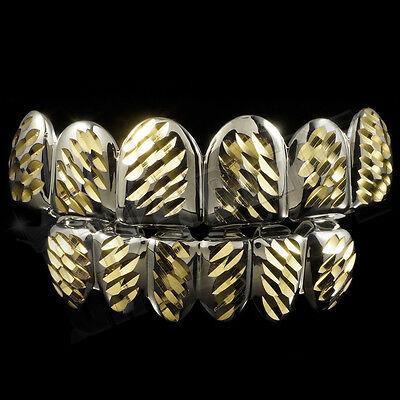14K White Gold Plated DIAMOND CUT Top Bottom Silver Teeth JOKER GRILLZ Set