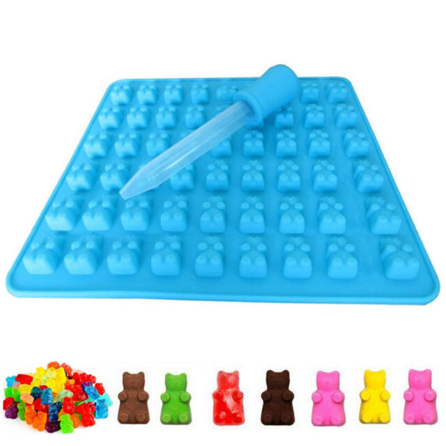 Cake Tools Non-Stick 50 Cavity Mini Gummy Bear Moulds Maker Tray Silicone Novelty Chocolate Candy Ice Mold Bear Cake Mold Muffin Pan