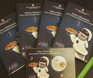 ITALIA-moneta-5-euro-Fdc-Pizza-e-Mozzarella-2020-ufficiale-IPZS