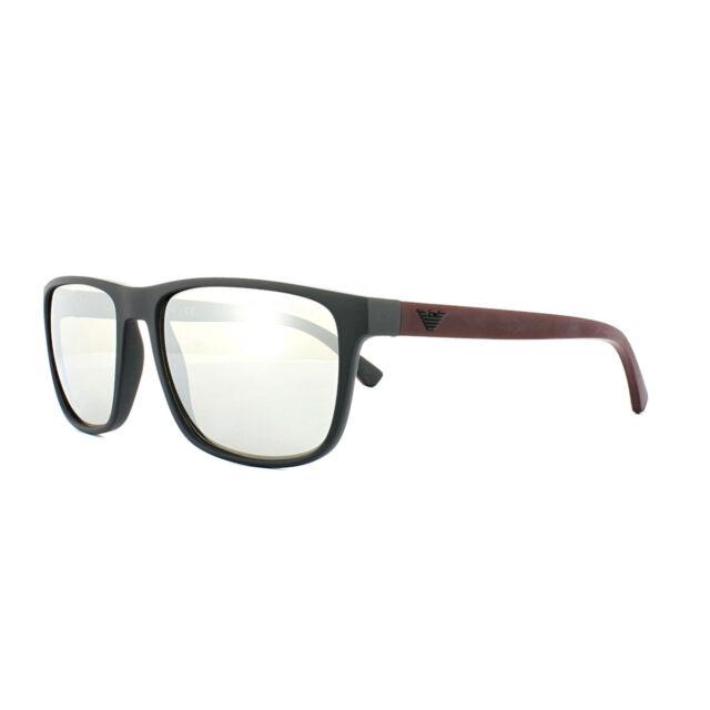 Emporio Armani Sunglasses 4087 5042/6G Matt Black Red Light Grey Silver Mirror