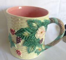 1988 Berry Haldon Group Japan Blossom Majolica Basket Weave MUGS Coffee Cup