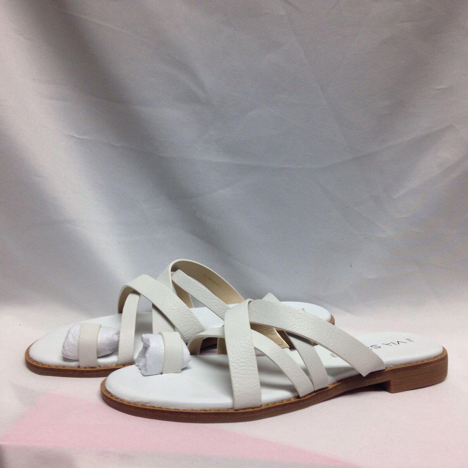 Via Spiga Reese2 Toe Ring Flip Flop Sandal 5.5 M White Leather New w Box
