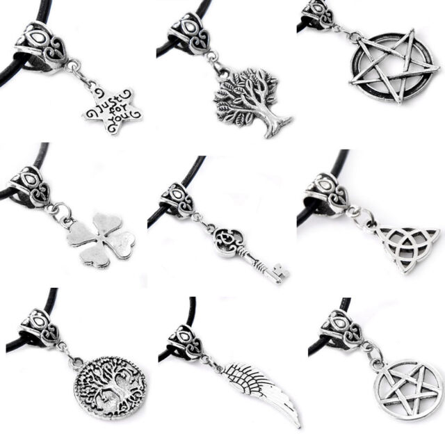 Fashion Black Leather Cord Choker Charm Pendant Black Necklace Tibetan Silver