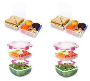 4-PACK Sistema To Go Lunch/Salad Food Container Bundle w/ Easy-Locking Clips