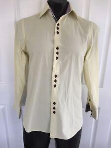 COOGI-LUXE-S-Yellow-Button-Down-Shirt-Checks-Long-Sleeve-Flip-Cuff-GC