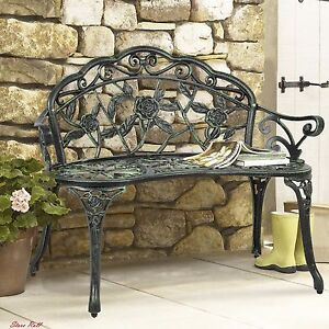 Metal Garden Bench Front Porch Furniture Patio Accessories Lawn Outdoor Iron New