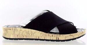 7d7c8ea0a52b Life Stride Positive Slide Sandal Peep Toe Black Cork Wedge Fabric ...