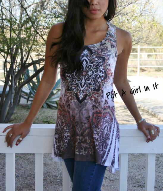 VOCAL CRYSTAL SEXY FLORAL LACE BACK SUBLIMATION TUNIC TANK TOP SHIRT S M L XL