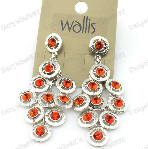 Wallis crystal chandelier earrings red orange silver plated wallis crystal chandelier earrings red orange silver plated rhinestone ebay aloadofball Image collections