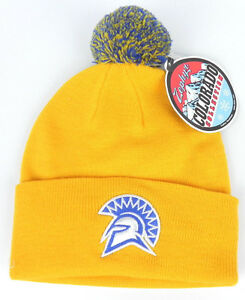 SAN-JOSE-ST-SPARTANS-YELLOW-NCAA-VINTAGE-KNIT-BEANIE-POM-Z-WINTER-CAP-HAT-NWT
