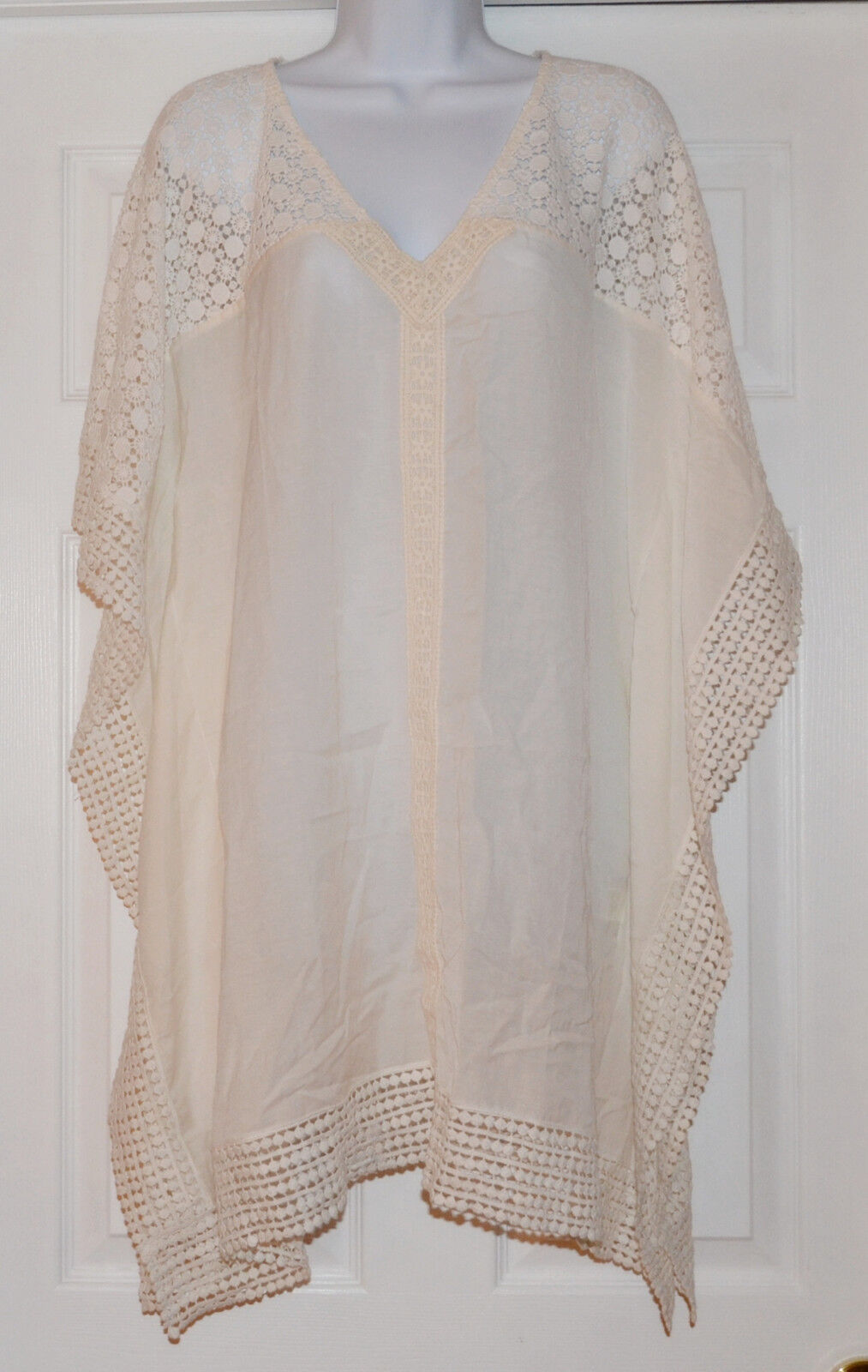Ella Moss Ivory Crochet Trim Pattern Kimono Tunic Cover-Up Sz S (K28)