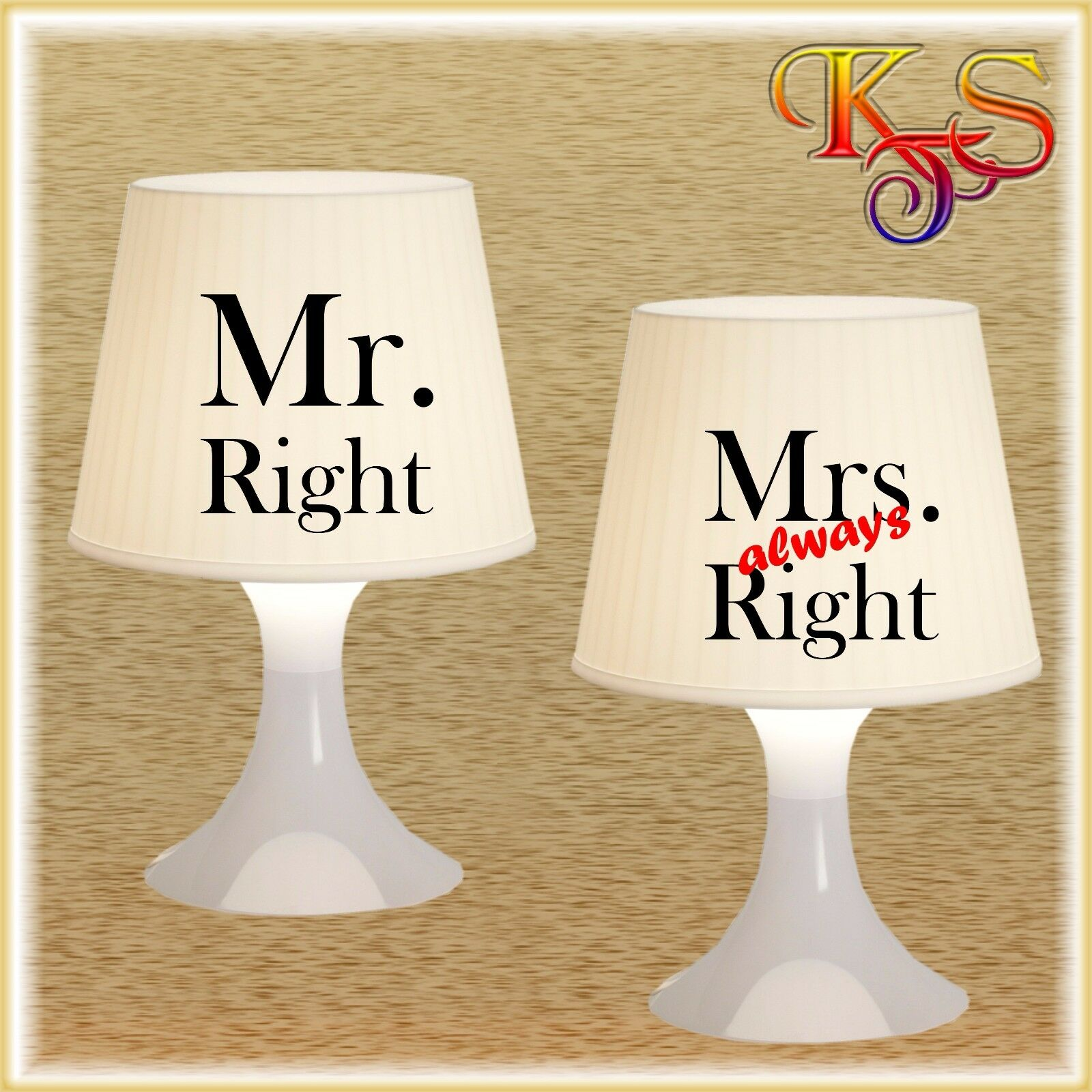 ♡♥ Partnerlampe Tischlampe Lampe Mr. Right Mrs.always Right (2) Farbwahl ♡♥
