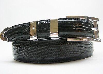 "Sterling silver buckle 2 loops and tip set 41 g w//Genuine Lizard-1-1//4 to 1/""belt"