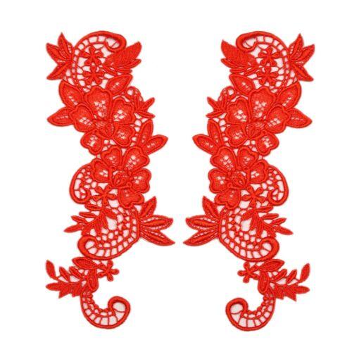 "Pair of 8/""x2.75/"" Floral Embroidered Motif Guipure Applique Lace Patch 8 Colors"