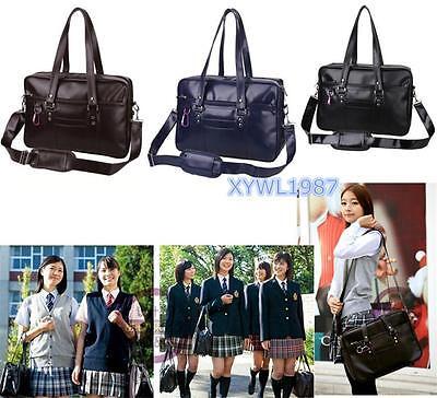 Japanese School Uniform Bag JK Single Shoulder Bag PU Leather Large Hangbag New