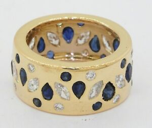 Heavy 18K gold 5.25CTW VS/G diamond/Blue sapphire cluster 10.7mm wide band ring
