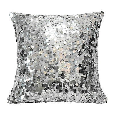Square Silver 9mm Shiny Sequins w/ Velvet Cushion Cover/Pillow Case*Custom Size*