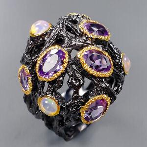 Fine Art Jewelry Amethyst Ring Silver 925 Sterling  Size 7 /R153923