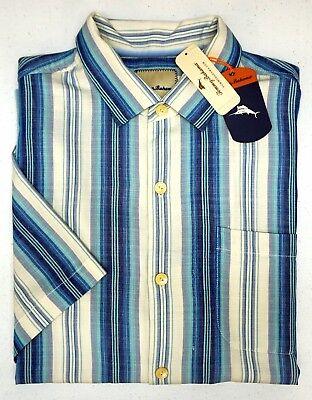 NWT $148 Tommy Bahama White Blue Stripe Short Sleeve Silk Camp Shirt Socrates