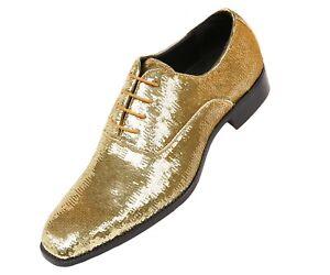 Bolano Mens Gold Metallic Sequin Plain