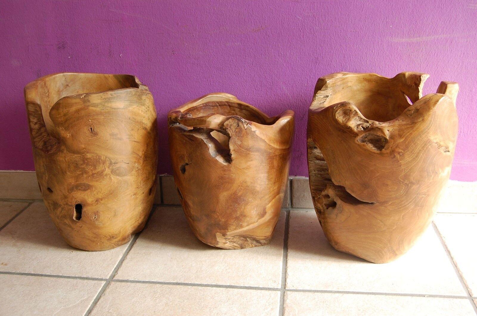 Deko Vase aus Teak Wurzelholz Bodenvase Standvase Vase Massivholz Edel Holz