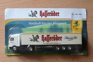 Modellino-autocarro-per-birra-Rimorchio-trasporto-BENZ-ACTROS-Hasseroder-PREMIUM