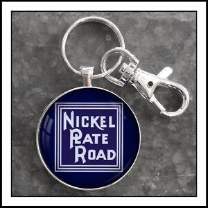 Vintage-Railroad-Sign-Photo-Keychain-Nickel-Plate-Road-Railway-Train-RR