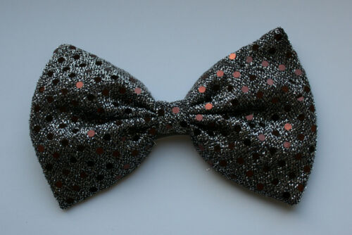 Silver//Platinum with Brown Sequins Bow Tie On Elastic Fancy Dress Clown Fun
