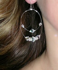 SWAROVSKI-Elements-Sterling-Silver-FLOATING-CRYSTAL-Earrings-CLEAR-AB