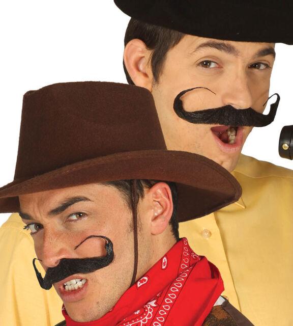Cowboy Tash Black Brown Moustache Mens Fancy Dress Wild West Accessory Smiffys