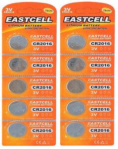 10-x-CR2016-3V-Lithium-Knopfzelle-75-mAh-2-Blistercard-a-5-Batterien-EASTCELL