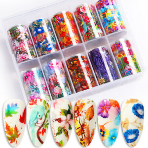 10Pcs-Nagel-Folien-Abziehbilder-Blumen-Design-Nail-Art-Transfer-Stickers-Paper