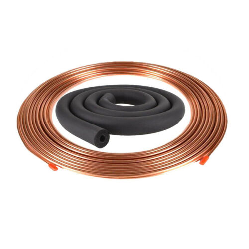 "5//8/"" x 5m Soft Copper Coil Pancake Copper Pipe Air Con HVAC w// Tube Insulation"