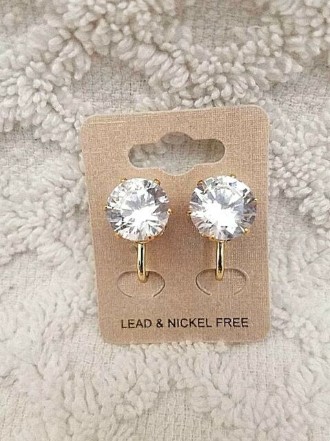 12 Silver Color Clip-On Ear Earclip Earring Flat 10mm Pad Blank Snap Findings