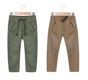Garcons-Pantalon-Chino-Enfants-Stone-amp-Vert-Kaki-A-Enfiler-Taille-Elastique