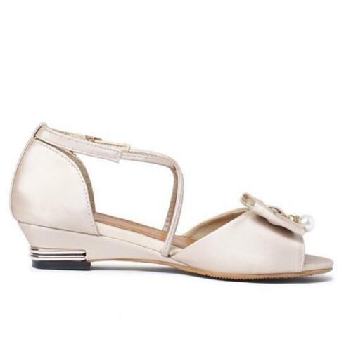Womens Open Toe Bowknots Decor Ankle Strap Buckle Flats Sandals Shoes Summer BB