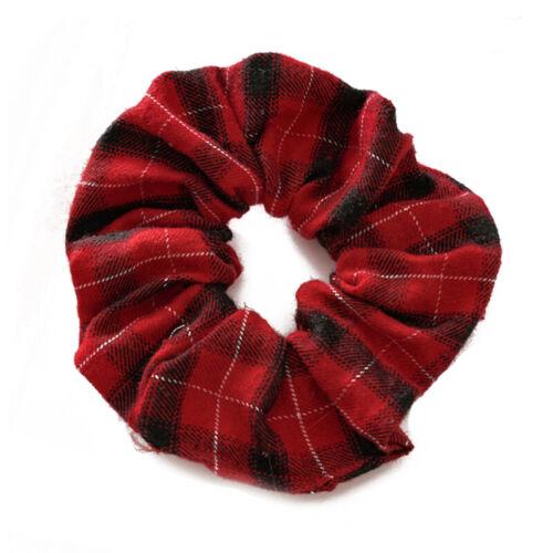 Fashion Color Plaid Stripe Printed Flannel Elastic Hair Ring Rope Hair Ornaments