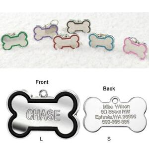 Bone-Shape-Engraved-Dog-Tags-Pet-Cat-ID-Tags-Personalised-Name-Address-for-FREE