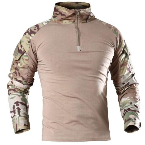 Mens Army Combat Long Sleeve Tactical T-Shirt Military Zipper Shirts Blouse Tops