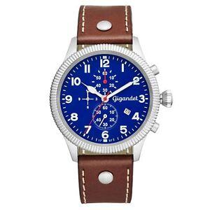 Gigandet Red Baron V Herren Armbanduhr Blau mit Lederband G34-002