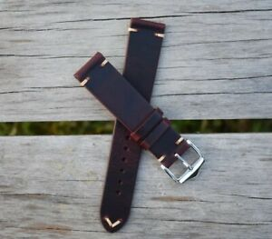 20mm-Genuine-Leather-Watch-Band-Strap-Handmade-Red-fits-Rolex-Tudor-All-Brands