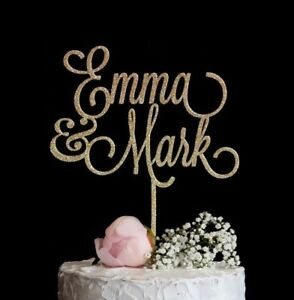 Custom-Wedding-Cake-Topper-Personalized-w-First-Names-Rose-Gold-Silver-Glitter