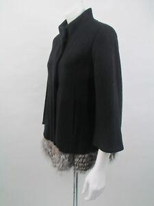 Roberto-Cavalli-Wolle-mit-Kunstfellbesatz-Jacke-Mantel-size-42it-UK-10